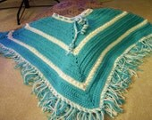 Crochet Turquoise and White Doll Poncho