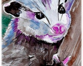 Baby Opossum Watercolor Painting Print, Artist-Signed