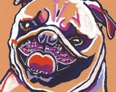 Happy Pug Watercolor Painting Print, Artist-Signed