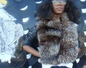 MOVING SALE Vintage Distressed  reconstructed Huge Collar FOX  fur mini winter jacket size xs or small