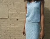 vintage pearl clustered pale blue wool tank and skirt size xs or sm