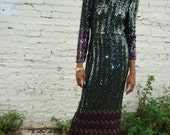 vintage silk avante garde sequin  80s draped long forest green  dress size xs or sm