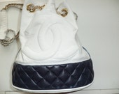 hold for marie vintage CHANEL navy blue and white drawstring RARE chain leather handbag purse