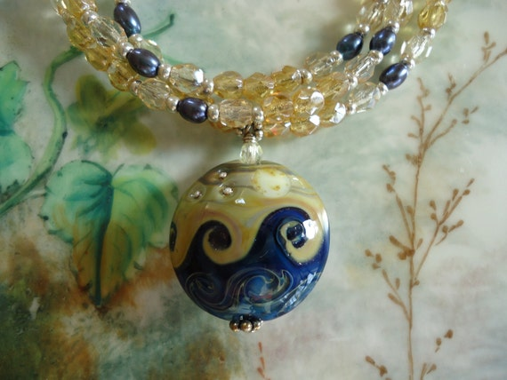 Golden Moon Over the Deep Blue Sea: A Lampwork and Czech Glass Necklace