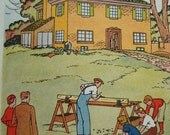Building, Carpenter, Houses - Vintage Children's Book Illustrations - 1920's