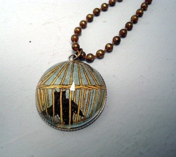 Owl in a Cage  - One of a kind Pendant