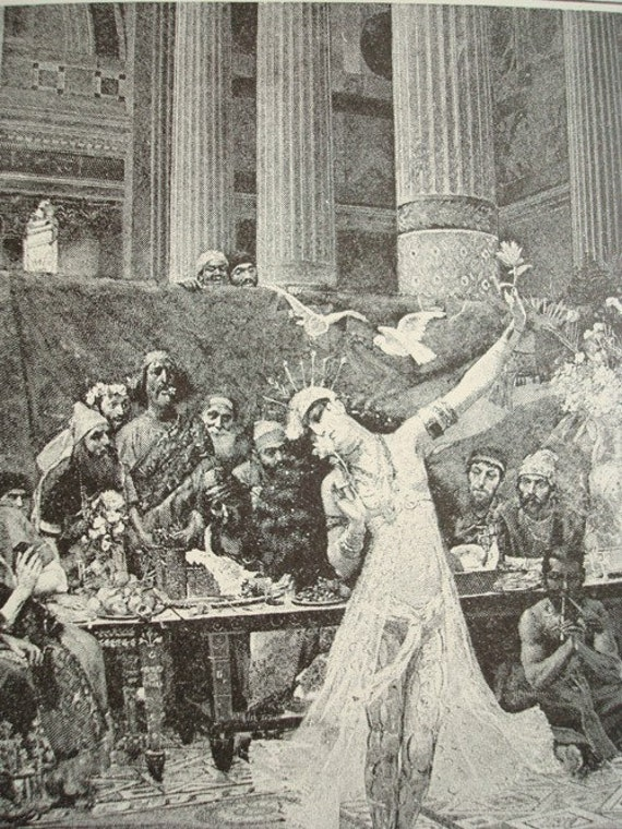 Salome Dancing before King Herod - 1892 Vintage Book Photogravure
