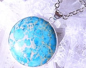Blue Sea Sediment -Silver-Stone-Necklace  T  148