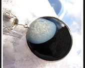 CLEARANCE  Black And White Druzy Stone -Necklace  U 5429