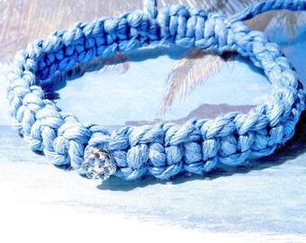 Blue Jean Denim-Swarovski Crystal Blue Flower-Bracelet