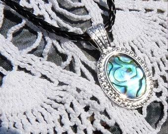 CLEARANCE  Sea Scapes Shades Of Blue Abalone - Black Bola-Necklace A 107