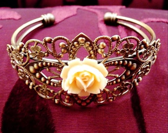 Antiqued Rose Filagree Cuff-Bracelet R 8143