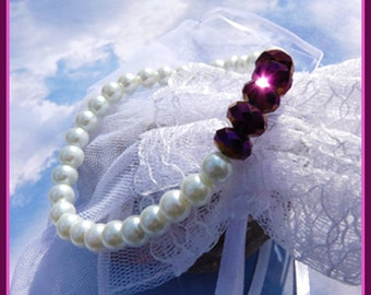 Deep Wine Swarovski Crystals -Pearls- Bracelet  Gift  U 5345