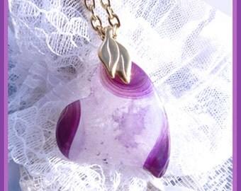 CLEARANCE  Purple Quartz- Druzy Freeform Heart- Necklace  U 5384