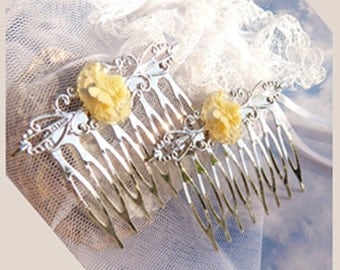 Victorian Flair- Ivory Butterfly Bouquet- Hair Combs U 5421