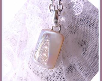 Iridescent Diamond Sparkle Si-Opal Titanium Druzy- Necklace  U 5480
