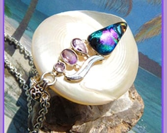 Dichloric Glass- Light Amethyst- Sterling silver- Necklace  U 5604