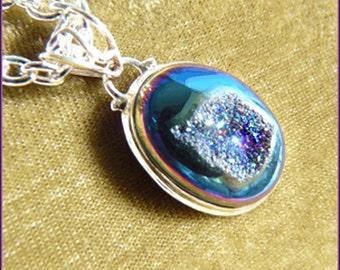 CLEARANCE-Medium Blue - Deep Purple - Vibrant Sparkle & Shine Titanium Druzy - Necklace  B 6305