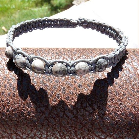 Grey Leather-Fossil Agate-Bracelet N 812