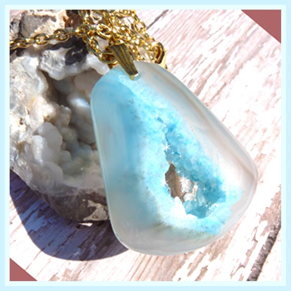 Light Blue Banded Agate Druzy-Necklace  T 460