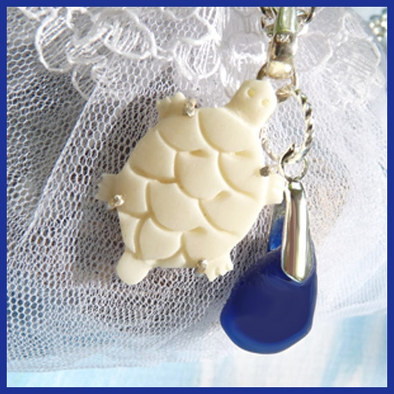 Carved Bone Turtle - Cobalt Blue Sea Glass - Necklace  C 7057