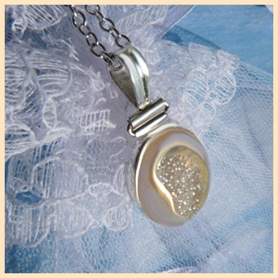 Glowing Irridescent Sparkling Druzy - Necklace  C 7083