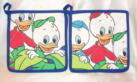 Duck Tales Pot Holders -Set of 2    Vintage Disney--Huey, Lewie, Dewie