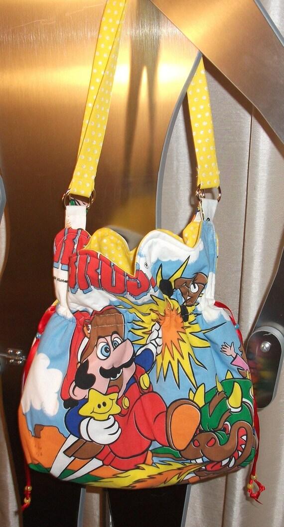 Super Mario and Zelda  Nintendo Ruffled Top Shoulder Bag--OOAK