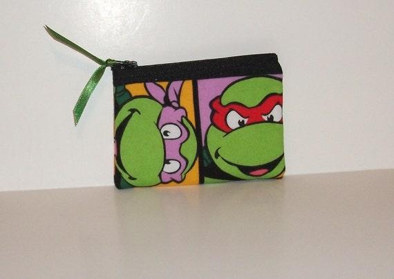 Teenage Mutant Ninja Turtles  Fabric Coin Purse- Handmade  Nintendo- OOAK  TMNT
