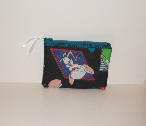 Pinky and the Brain   Fabric Coin Purse - Handmade 90s Nicktoon