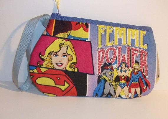 Girl Power  Wristlet  / Pouch--Handmade  Batgirl--Wonder Woman--Super Girl