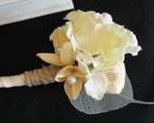 Island Romance Boutonniere - Cream hydrangeas, exotic botanical, pearls, twine - Exotic Botanical Collection