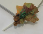 Acorn Groom Boutonniere - Ivory grosgrain ribbon, fall leaves, curled bear grass - Fall Collection