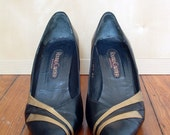 Roland Cartier Vintage Heels - Black and Gold Striped 8 to 8.5 or 39