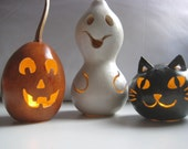 Halloween gourd pumpkin, ghost and cat trio decoration - Halloween Luminaries - Spooky Gourd Creations