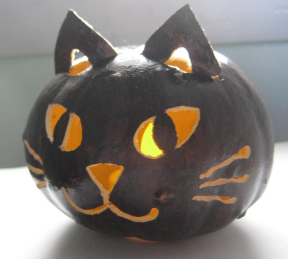 Halloween Luminary Black Cat Gourd - Spooky Night Light Window decoration