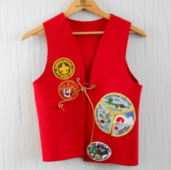 Vest Boy Scout 70's Vintage Red Boy Scout Vest