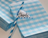 Favor Bags, 24 Blue Gingham Favor Bags, Baby Shower Favors, Wedding Favors, Bridal Shower, Candy Bags, Favor Bags, Birthday Party Favor Bags