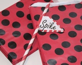 Paper Bags, 24 Red and Black Polka Dot Favor Treat Bags, Lady Bug Party Favor Bag, Minnie Mouse Party, Pirate Party Favor, Paper Candy Bag
