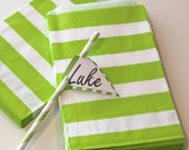 24 Favor Bags WIDE GREEN STRIPE Treat Bags, Holiday, Favors, Birthday , Packaging , Made In Usa