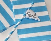 Paper Bags, 24 Blue Sailor Striped Paper Bag, Paper Candy Bag, Gift Bag, Party Favor, Package, Baby Shower, Birthday Party, Wedding Favors