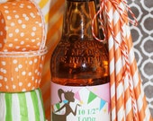 25 LONG ORANGE Striped Paper Straws  with DIY Printable Straw Flags, Long Paper Straws for Tall Soda Bottles