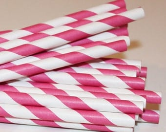 Paper Straws, 25 Hot Pink Striped Paper Straws, Girls Birthday Party Straws, Wedding Paper Straws, Pink Paper  Straws, Baby Shower Straws,
