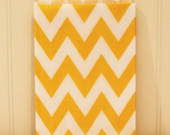Paper Bags, 24 Yellow Chevron Party Favor Treat Bags, Wedding Candy Buffet, Baby Shower Party Goods, Kids Party Favors, Birthday Party Favor