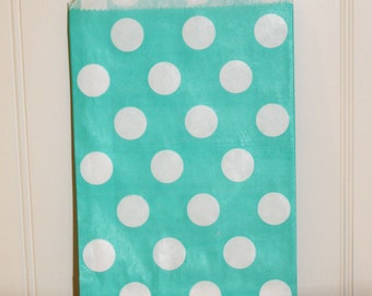 Paper Favor Bags - 24  AQUA POLKA DOT Favor Bags, Candy Shop Buffet, Mermaid, Pool, Wedding, Birthday, Bridal, Baby Shower , Spa Party,
