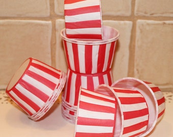Red Stripe Nut or Candy Cups -  Baking Cups - Cupcake Cups - Cupcake Cups - Waxed and Greaseproof