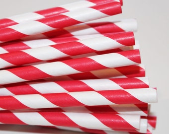 Paper Straws, 25 Candy Apple Red Paper Straws, Red Paper Straws, Carnival Party Drink Straws, Retro Paper Drinking Straws, Striped Straws