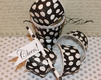 Nut / Candy Cups - 20 BLACK / White Dots Cupcake Baking Cups, Dessert Cups, Ice Cream, Party Supplies
