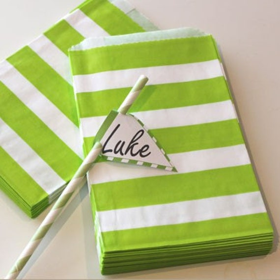 24 Green Stripe Favor Treat Bags - Halloween - Homemade Food Gifts - Packaging - Birthday