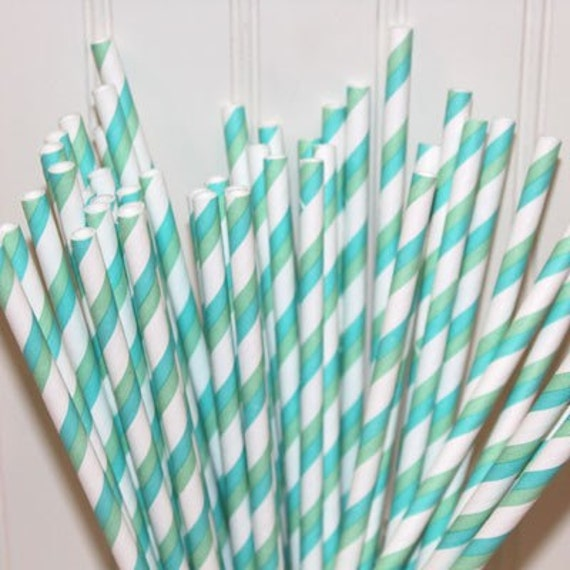 "150 Aqua and Green Striped paper drinking straws with FREE  DIY Printable Flags. See our ""Personalized"" option."
